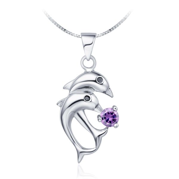 Find More Pendant Necklaces Information about Dolphin Silver Plated Zirconium Pendant Necklace Animal Fashion Necklaces for Women 2015 Purple Crystal Jewelry Gift Ulove N301,High Quality jewelry paper,China jewelry anchor Suppliers, Cheap jewelry tv from ULOVE Fashion Jewelry on Aliexpress.com