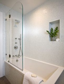 Drop in tub / shower combo, frameless glass, built in shelf