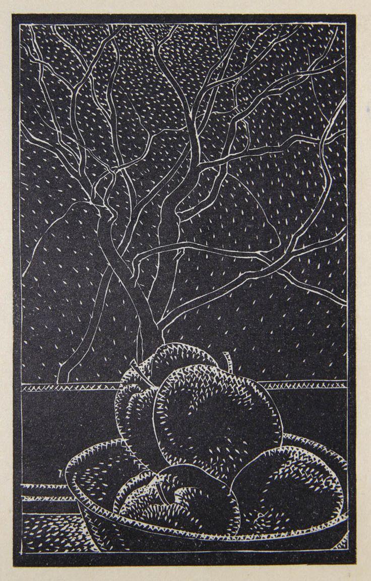 'Apples on Windowsill', 1944, lino-cut print by Lionel LeMoine Fitzgerald at Mayberry Fine Art