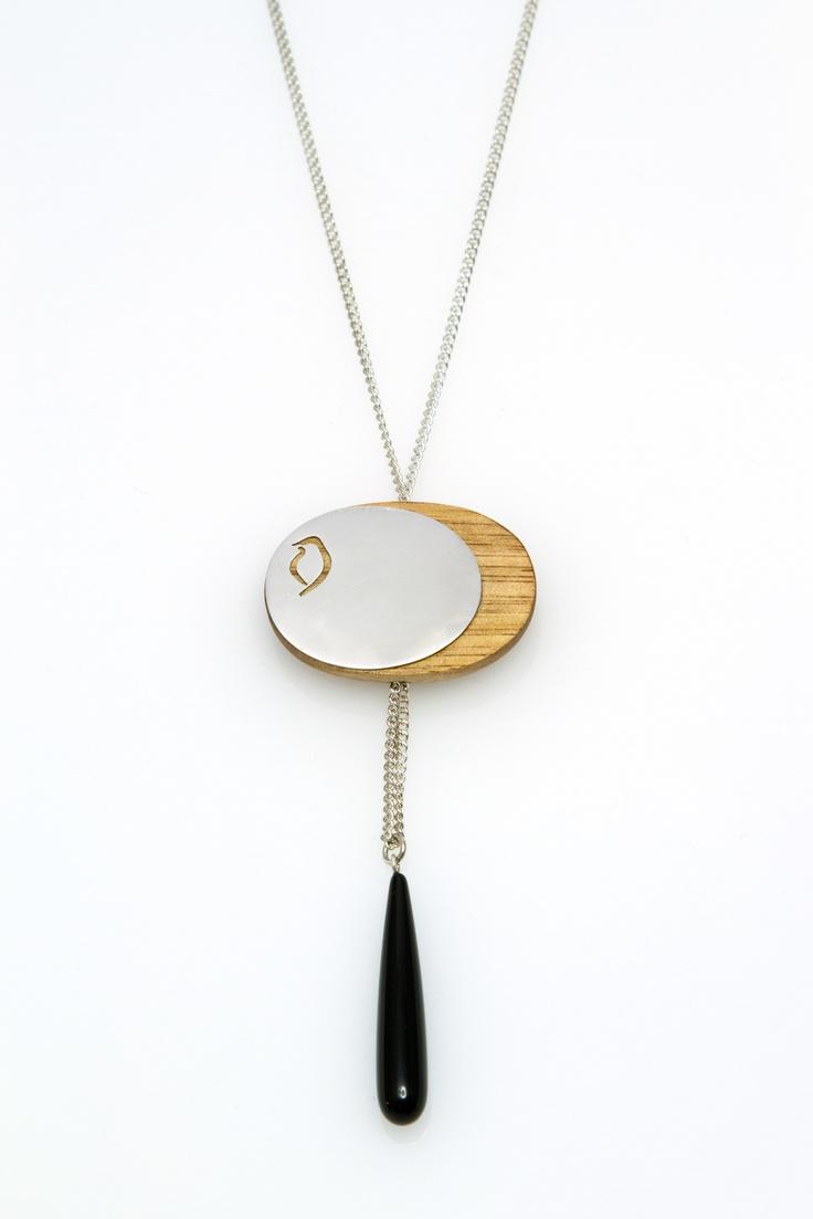 'Phoebe Eclipse' silver & timber with onyx.