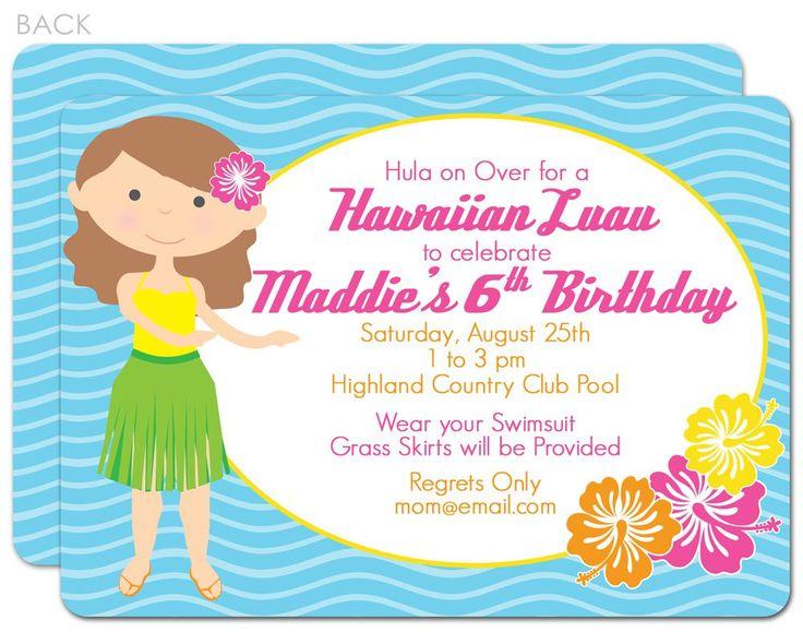 25 best ideas about Luau birthday invitations – Beach Party Invitations Wording