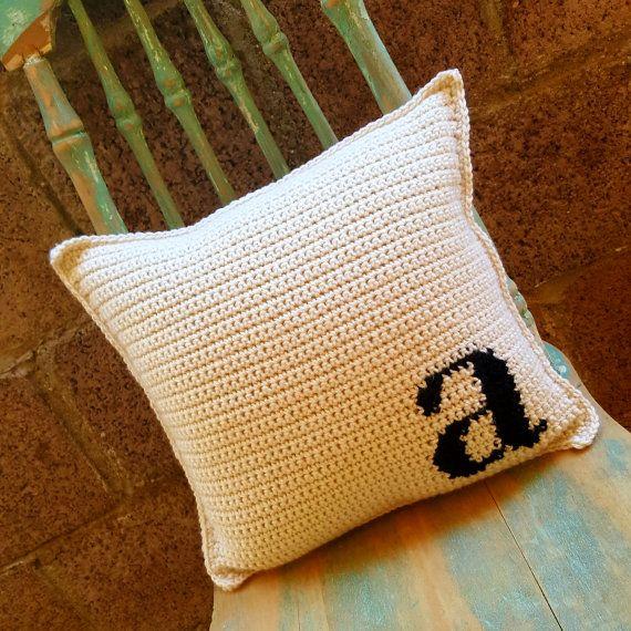 Crochet Monogram Pillow // Letter Pillow // Initial by hookandhoot