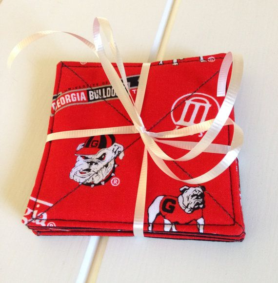 University of Georgia Bulldogs Fabric Coasters by LawsonCreations