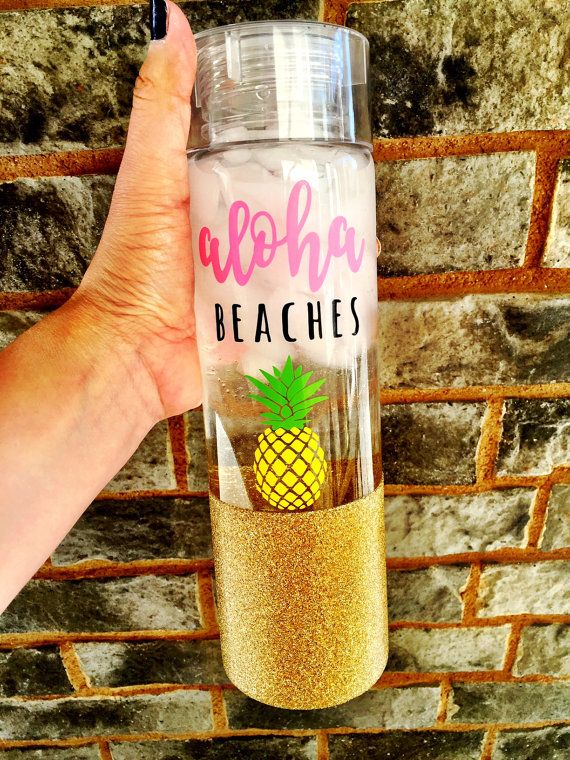 Aloha Beaches Glitter Water Bottle Glitter Tumbler by SipSoSweet