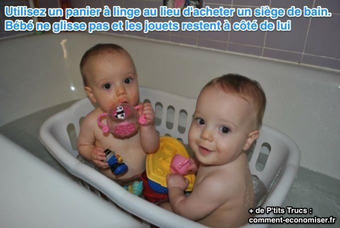Savez-vous qu'un panier à linge peut remplacer un fauteuil de bain de manière pratique et économique ? Voyez plutôt :-)  Découvrez l'astuce ici : http://www.comment-economiser.fr/astuce-siege-bain-bebe.html?utm_content=buffer422e2&utm_medium=social&utm_source=pinterest.com&utm_campaign=buffer