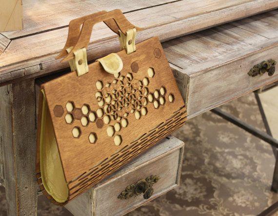Venta Bolsa de madera bolso de mango de madera de