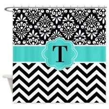 Black Turquoise Chevron Damask Monogram Shower Cur for