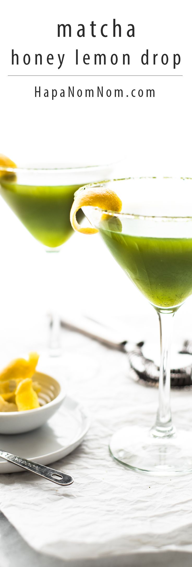A Japanese twist on a lemon drop cocktail, the earthy-grassy matcha pairs beautifully with the sweet and sour qualities of honey and lemon.