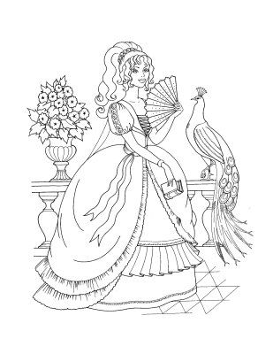 Fancy Princess Coloring Page Book