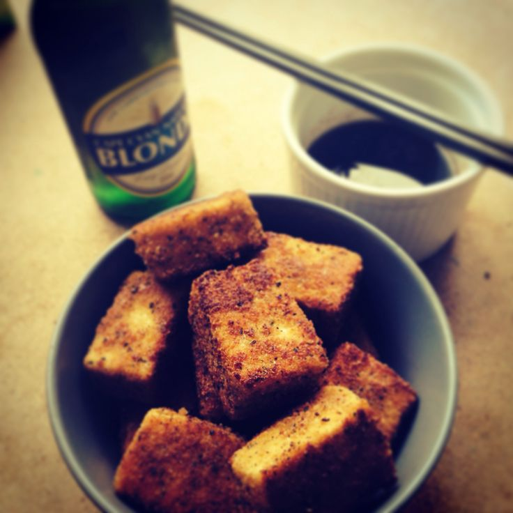 Tofu crumbed with dipping sauce