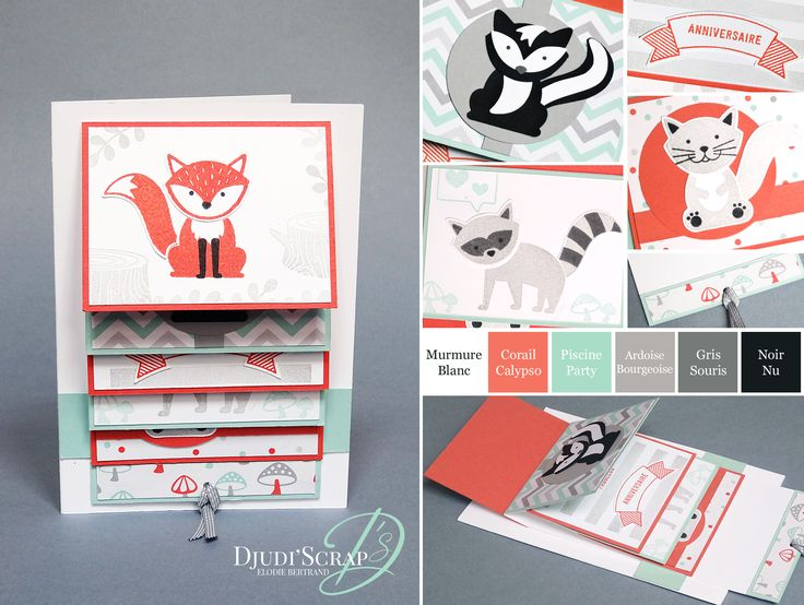 "Djudi'Scrap Stampin'Up! - Tutoriel Carte Cascade Anniversaire, Carte à Tirette ""Set Foxy Friends"""