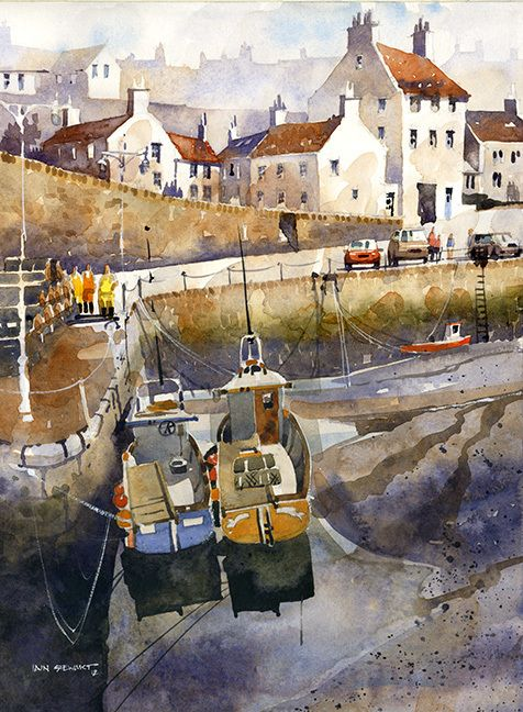 "Crail Harbor at Low Tide- Scotland by Iain Stewart Watercolor ~ 14"" x 10"""