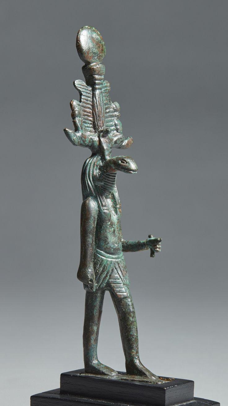 An Egyptian Bronze Figure of Nehebkaou, Late Period, 716-30 B.C.
