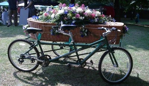 Paul Sinclair, he who begat Motorcycle Funerals, has a bicycle hearse for sale.Bicycle-Built-For-Two, Bicycles Spoke, Motorcycles Funeral, Begat Motorcycles, Death, Bicycles Hearing, Tandem Bicycles, Bicycles Hearse,  Tandem Bicycle
