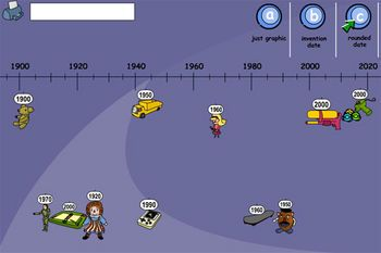 Place different toys on a timeline to show when they were invented.