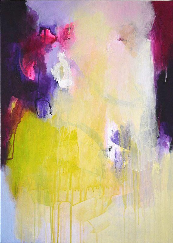 2 delen oorspronkelijke abstract schilderen op uitgerekte