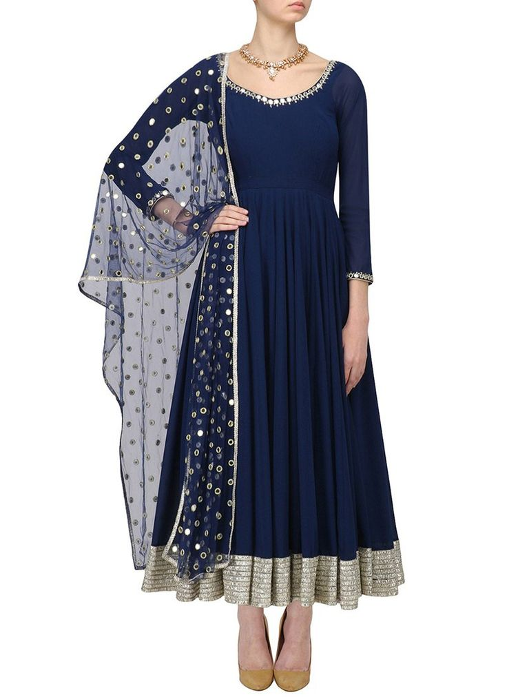 Buy Navy Blue Georgette Anarkali Suit online from the wide collection of anarkali-suit.  This Blue colored anarkali-suit in Faux Georgette fabric goes well with any occasion. Shop online Designer anarkali-suit from cbazaar at the lowest price.