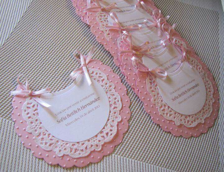 DIY - Baby Bib Shower Invitation. It would be able to be used for a boy or a girl, just by changing the color of the craft paper.