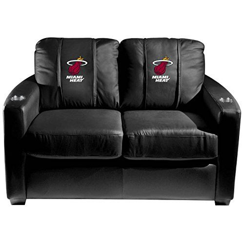 XZipit NBA Silver Loveseat with Miami Heat Logo Panel Black *** Want additional info? Click on the image.