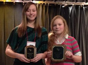 Ensleigh Hollon and Rachel Patton took the top spots in the 2014 TVMS Spelling Bee.