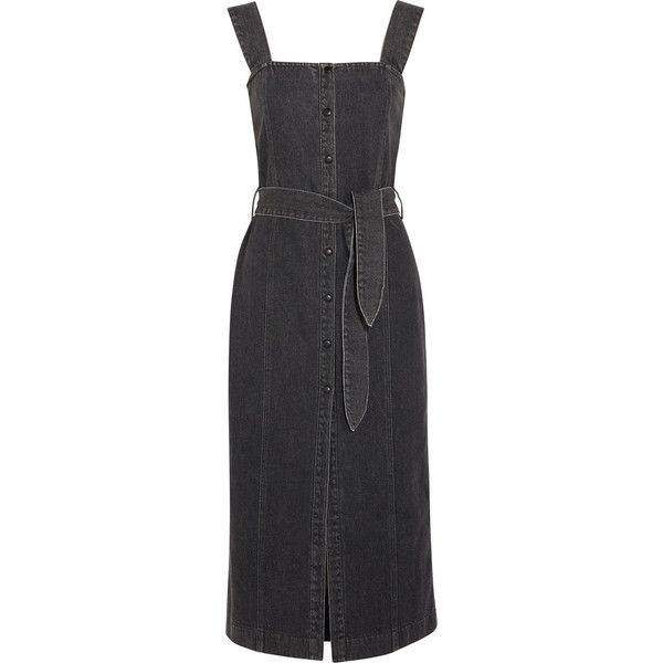 Nanushka Sally denim midi dress (370 CHF) ❤ liked on Polyvore featuring dresses, black, calf length dresses, polka dot dresses, denim midi dress, square neck dress and spotted dress