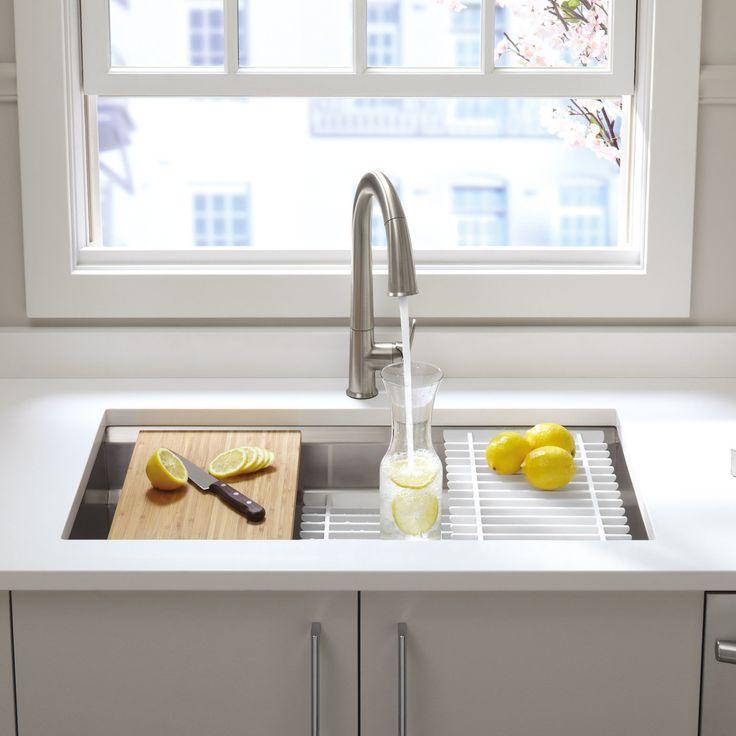 "Kohler Prolific 33"" x 17-3/4"" x 11"" Under-Mount Single Bowl Kitchen Sink with Accessories & Reviews | Wayfair"