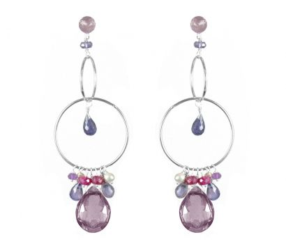 Sterling silver hooped earrings with faceted pear shape Amethyst drop, Iolite teardrops, Amethyst, Ruby beads and silver grey cultured fresh water pearls. http://mounir.co.uk/collections/sparkling_nights/4639_hooped_earrings_with_amethyst
