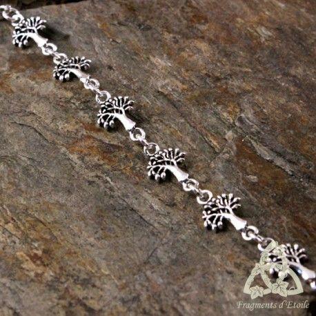 bracelet fin elfique féerique arbre de vie d'argent massif yggdrasil nature celtique ésotérisme païen wicca magie mariage cadeau noël forêt