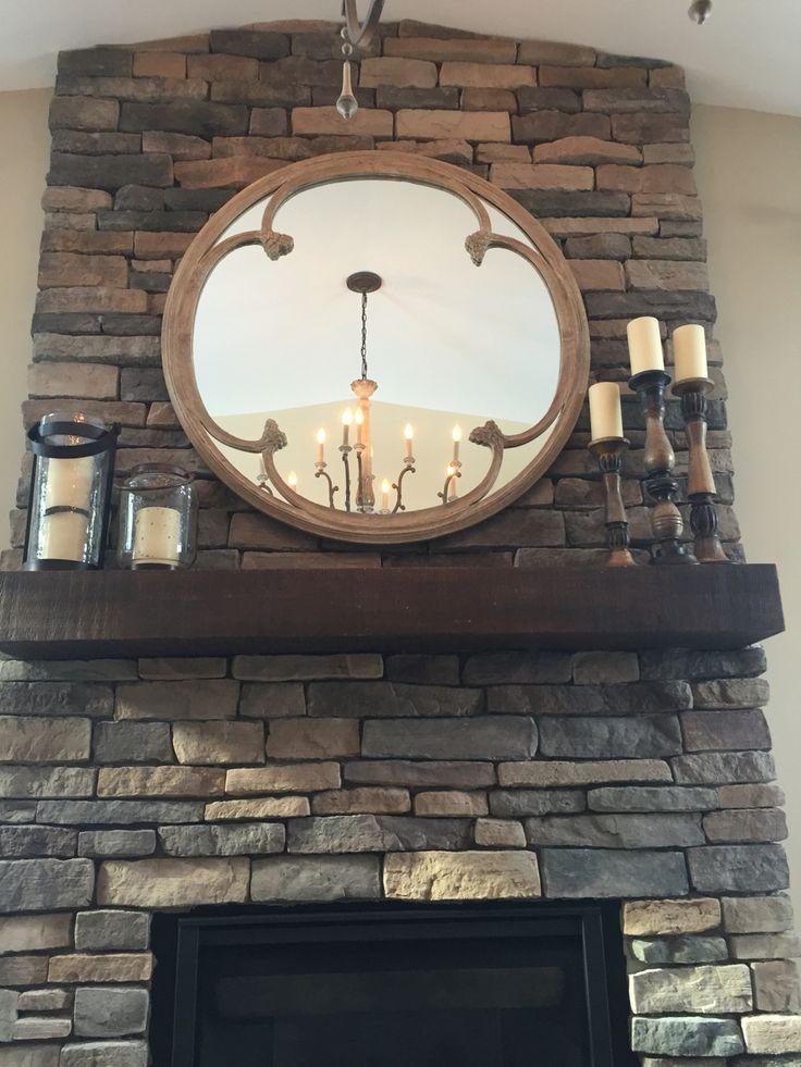 Stone Fireplace Round Mirror Arhaus Style Fireplaces