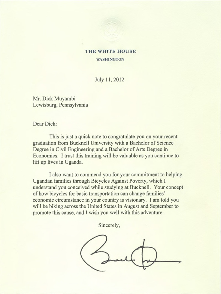 President Obama wrote this letter to Muyambi Muyambi u002712 - congratulation letter