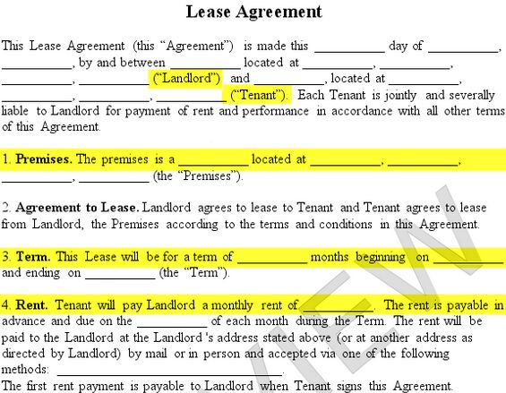 Lease Agreement Form Premises Landlord Tenant Rent Term  Rentals