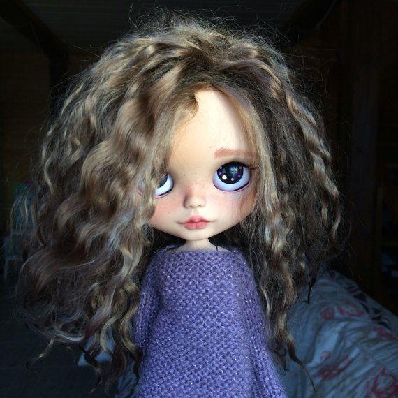 AmandaOoak zakázku Blythe panenka hnědý mohér útek vlasy opálení kůže