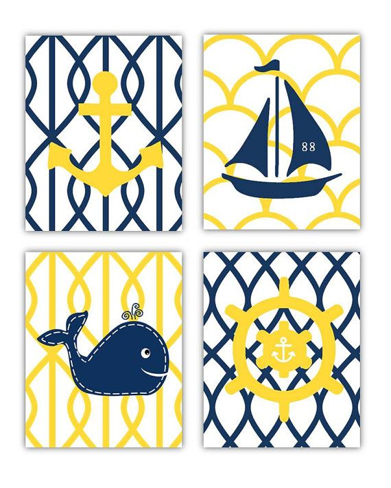Yellow and Navy Nautical Nursery Wall Art 4 8x10 by LittlePergola, $55.00