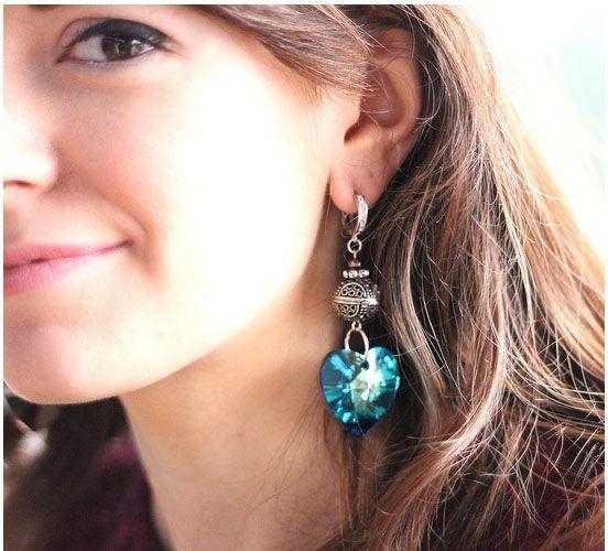 Earrings Swarovski heart and boulle