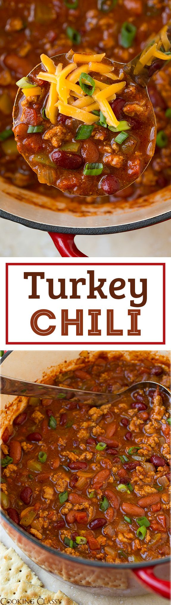 Turkey Chili - a lighter chili that tastes just as good as the beefy version! Hearty, comforting and totally delicious!