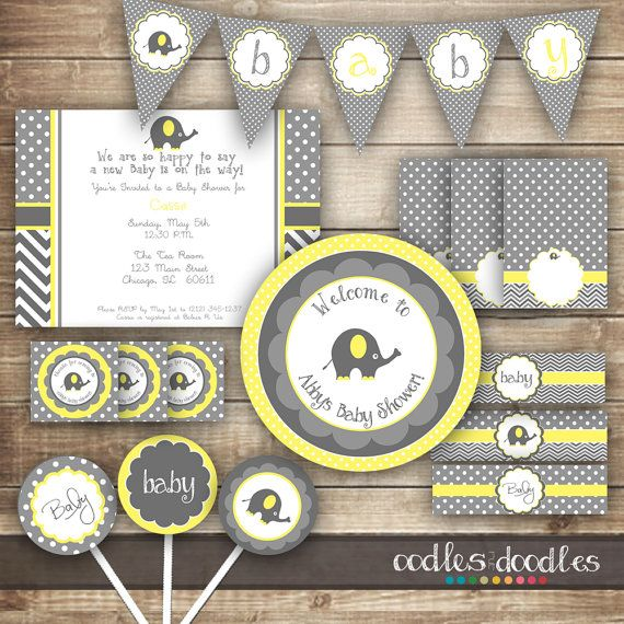 Elephant Baby Shower / Chevron and Polka Dots / Yellow & Gray PARTY PACKAGE  / Gender Neutral Party Kit - Printable