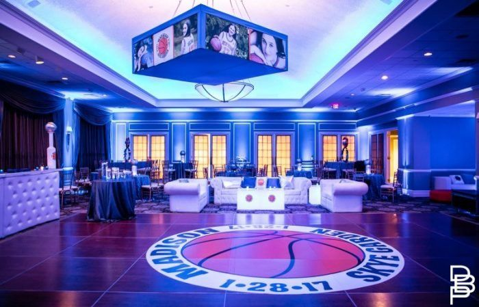 Basketball Themed Bat Mitzvah Decor with the Bat Mitzvah Logo on the floor.    Bat Mitzvah Decor | Bat Mitzvah Decorations | Basketball Theme | Basketball Bat Mitzvah | Sports Bat Mitzvah