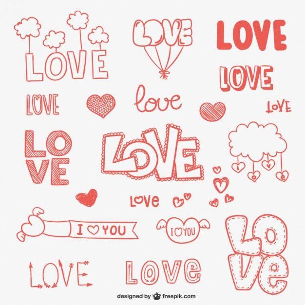 Amor ornamentos do doodle                                                                                                                                                                                 Mais