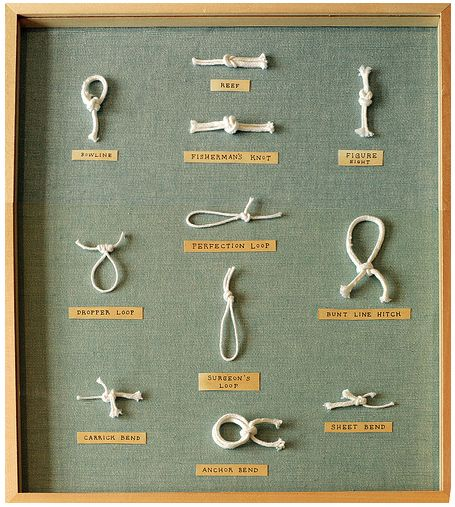 framed knots (good gift for guy who likes boats... or knots).