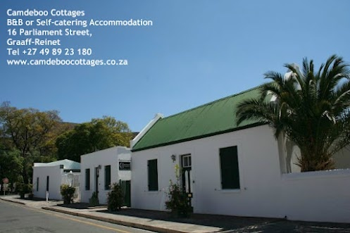 Street view of Camdeboo Cottages - B or Self-Catering Accommodation in Graaff-Reinet, gem of the karoo - follow us on Facebook - www.facebook.com/camdeboo    #travel #Karoo #EasternCape #SouthAfrica #GraaffReinet