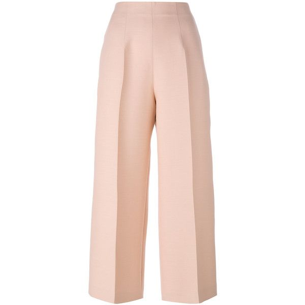 Fendi Wool and Silk Trousers ($925) ❤ liked on Polyvore featuring pants, pink, wool pants, high waisted pants, high-waisted trousers, cropped pants and pink pants