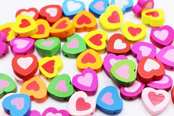 Heart Wooden Bead Heart-shaped Wood Bead by boysenberryaccessory
