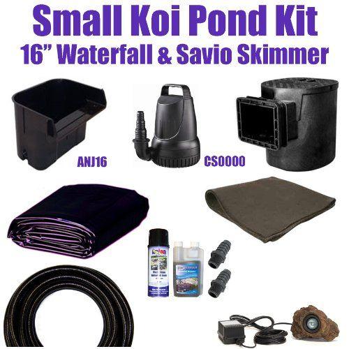 "15 x 20 Small Koi Pond Kit 3,200 GPH Savio Compact Skimmer With 8.5"" Faceplate, & Anjon 16"" Waterfall SH0"