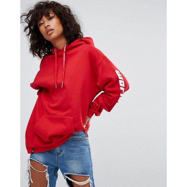 Wasted Paris Oversized Skate Hoodie With Worldwide Sleeve Print (€90) ❤ liked on Polyvore featuring tops, hoodies, red, red hoodie, red hoodies, red top, jersey hoodie and cotton hoodie
