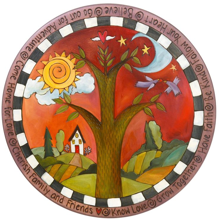 Homestead Lazy Susan by Sticks . Each piece is handcrafted. All pieces are finely crafted from birch, poplar and driftwood. The pieces are further designed with hand drawn imagery, etched contouring and vibrantly blended paint. Pieces can be embellished with 3-D wood components, metal, leather, and fabric.
