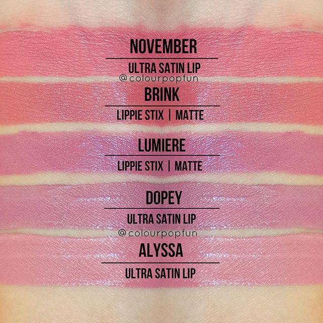 Colourpop November / Brink / Lumiere / Dopey / Alyssa