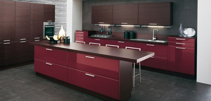 Stunning Burgundy-brown-kitchen by GeD Cucine
