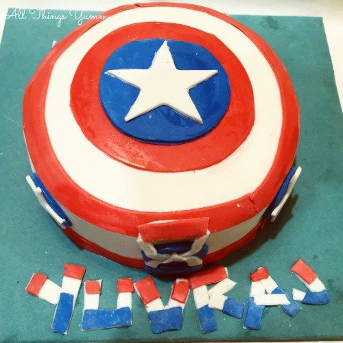 Cartoon Cakes - Captain America Cake with Fondant Art | All Things Yummy #allthingsyummy #fondant #captainamerica #cake #cartoon