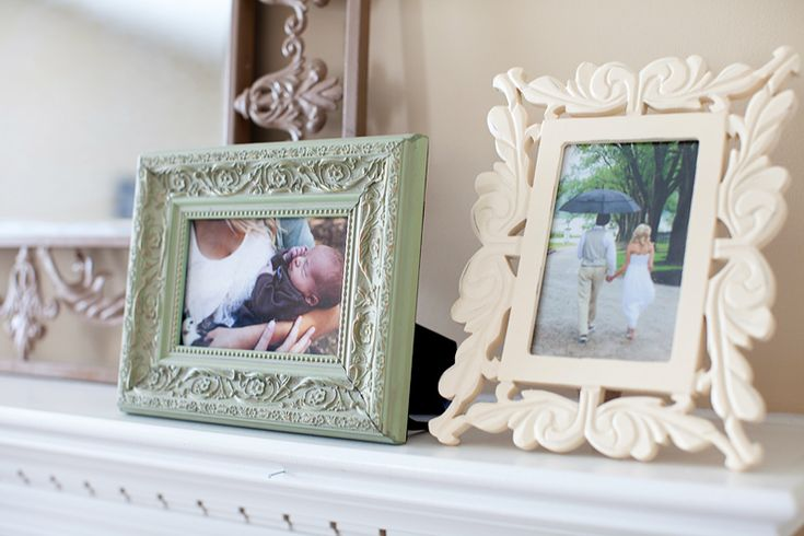 I love the romantic wedding photo next to the picture of their baby on the mantle.