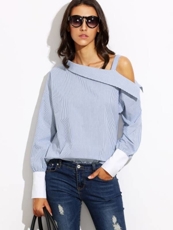 Blusa Azul Listrada Decote Assimétrico - Compre Online
